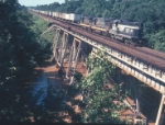 RF&P 101 and Two SCL Units and Pigs on South Anna River Trestle in 1972
