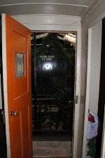 Tender viewed through the doorway of the MILW caboose