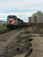 RLCX 8523 passes where the old Pennsy depot was