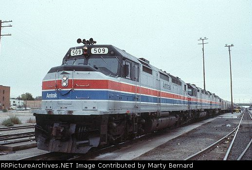Amtrak 509, 502, and 500 with Southwest Limited in 1977