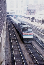 Amtrak 203, Tr. 354 Coming Out From Under the Post Office