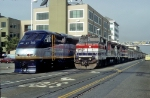 AMTK 509, Tr. 11 The Coast Starlight Passes On Display a New Amtrak California F59PHI in Jack London Square