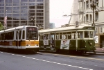 MUNI 496 and 1255 in Historic Street Car Parade on Market Street