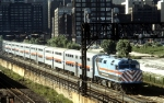 Chicago RTA 105 Just Left LaSalle Street Station with Seven Amtrak Cars