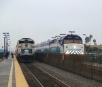 Coaster and Metrolink Trains Meet at Oceanside and In a Few Minutes Will Return To Were They Came From