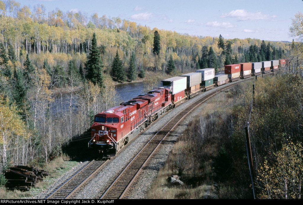 CP 8821 & 8832 is west bound with a stack train