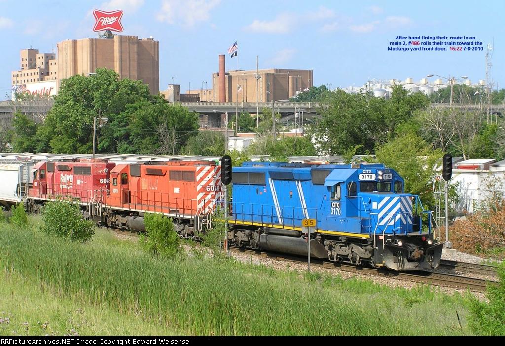 Train 486 has a distinctive leader today
