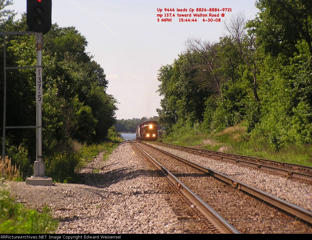 UP 9446 leads across the submerged main 1