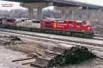 CP 8638 once lead the Christmas train with its dual flags & beaver