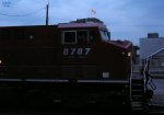 The Falk flag at dusk over CP 8787 waiting to yard their train