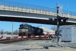 Eastbound intermodal rattles the State St. diamonds {IHB control point Hohman}