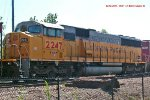 UP 2247 - a tri-clops Sd60m - trails in coal train 808