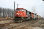 CN 5737 heads west with only the trail unit working