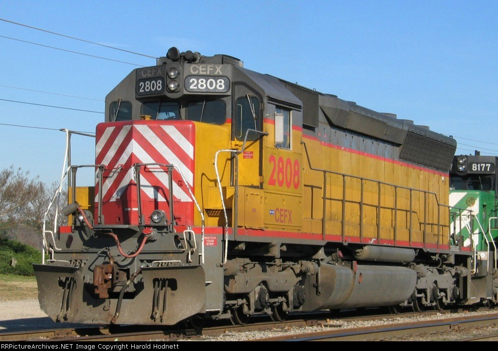 CEFX 2808 and another leaser are on the point of a work train