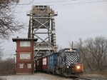 LSRC 5921 leading Z145 off the Saginaw River bridge
