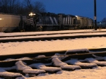 Snow encrusts the ties in east yard as Z127 waits to depart