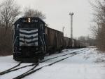 LSRC 1164 shoves part of a grain train back into the yard