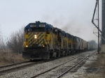 389 leading 3 more GP35's south with a grain train