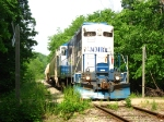 24 leading its' train across the only crossing for many miles in the Ionia State Recreation Area