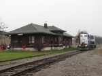 A rare appearence of any rail activity passes the old depot