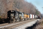 Filthy 2544 leads CSX 7509, UP 4748, and UP 4932 with a short train