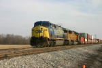 CSX 634 is on a westbound stack train