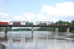 BNSF 4255 over the Rock River Bridge
