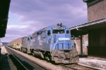 CR 3269 2798  is at the station with a welded rail train,