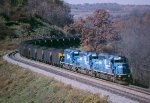 NS (CR) 3355-3365-3366 with a n/b coal train on the Monongahela