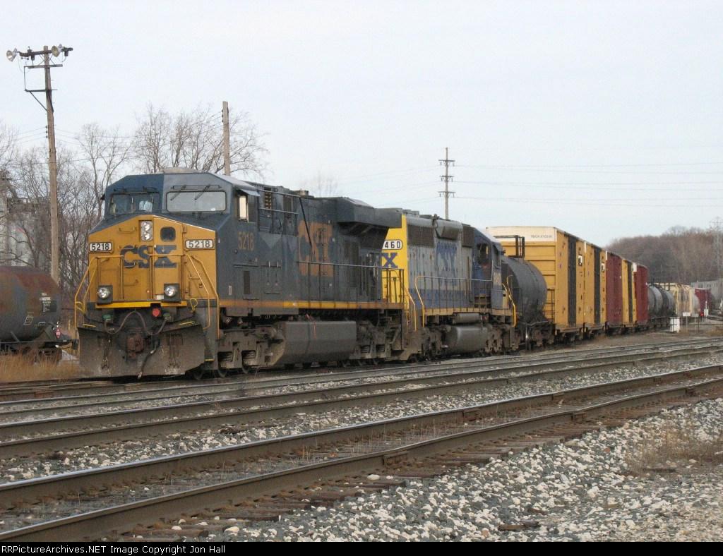 CSX 5218 & 8460 leading Q335 into the yard