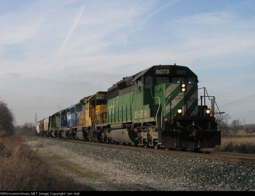 4 engines and 4 cars. Q326 led by BNSF 8073