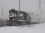 NS 5522 heading south in the dense lake effect snow with BG02