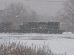 CSX 8835 obscured by the snow