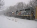 CSX 2667 following through the flying snow