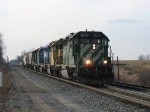 BNSF 8073 leading Q326 down the main