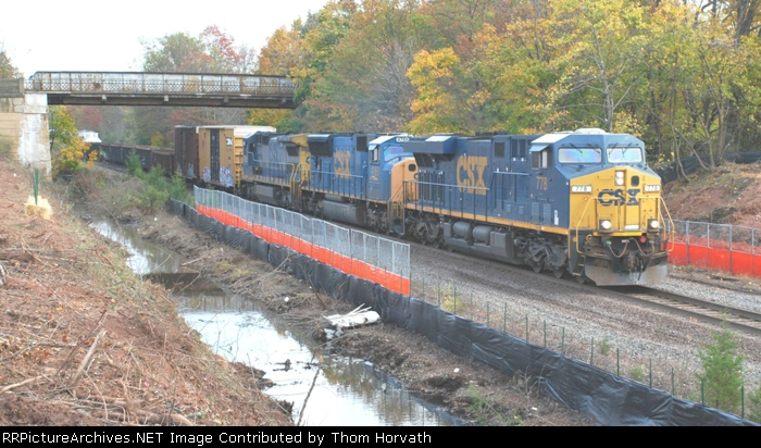CSX 439 heads west on the Trenton Line with a 566 axle count