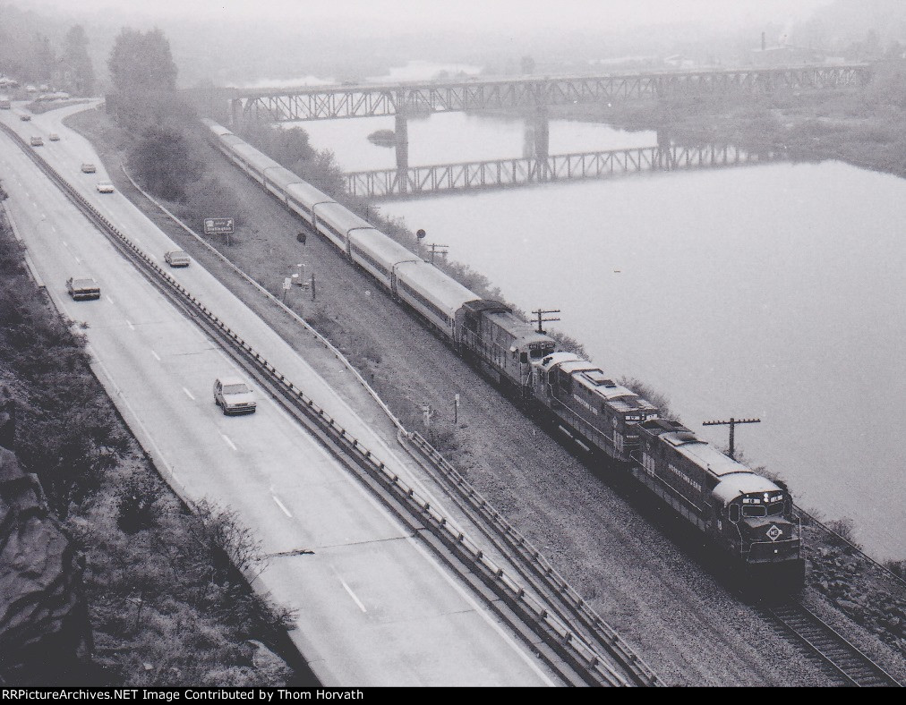 """Dubbed the """"Jim Thorpe Express"""" is seen heading north on a foggy morning."""
