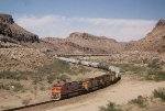 BNSF 619 leads its consist of general merchandise through Kingman Canyon