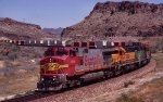 A BNSF intermodal makes its way through Kingman Canyon