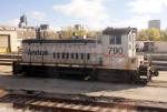 Amtrak switcher at rest in Amtrak yard
