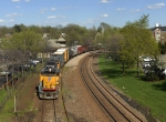 Union Pacific #2914 leading mixed freight westward