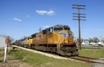 Union Pacific mixed freight moving westward