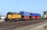 UP 805 leading a cut of stack train cars