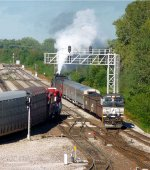 NS 9325 Leading NKP 765 Steam Excursion Train Into Madison, IL TRRA Yard
