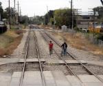 Trespassers on the Union Pacific railroad tracks