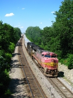ATSF 554 leading NS 251 Southbound