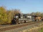 Portland Coal train heading back for another load with a pumpkin on Halloween