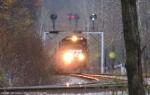 Eastbound under the signals