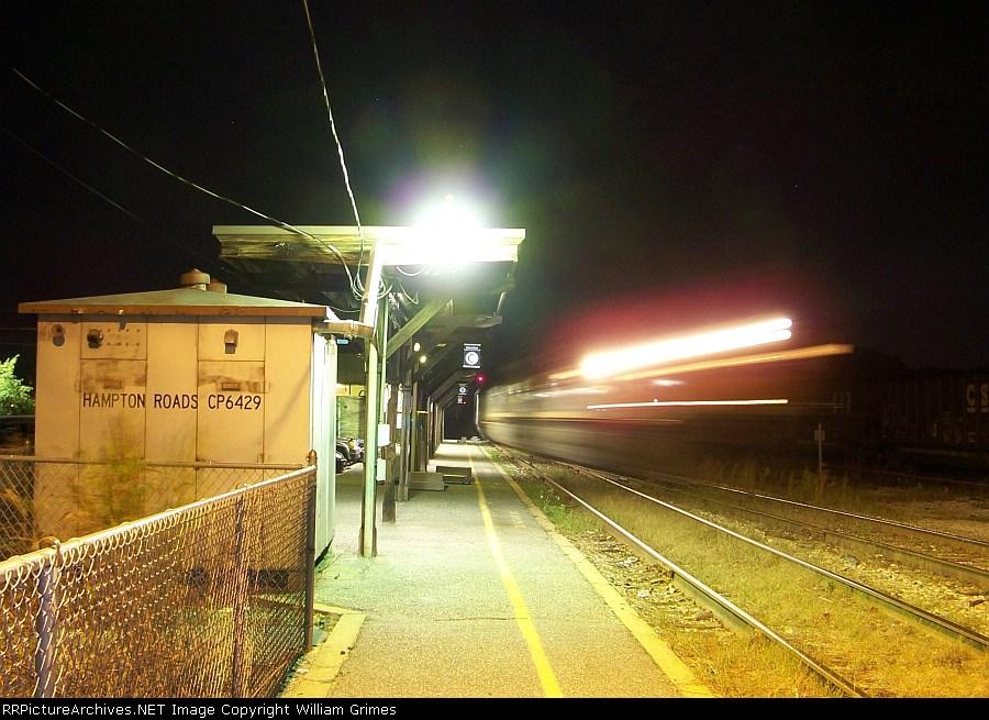 Late night coal train rumbles past Hampton Roads Junction