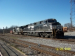 NS 9952 leads train 202 towards depot and Tennessee river bridge